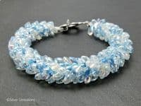 Pastel Baby Blue Beaded & Braided Woven Petals Kumihimo Seed Bead Bracelet | Silver Sensations